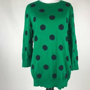 Banana-Republic-Women-Green-Black-Polka-Dot-3-4-Sleeve-Sweater-sz-L