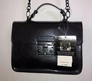 Steve-Madden-Blincoln-Black-Satchel-Purse-NEW-w-Tags-Chain-Strap-Handle-NWT