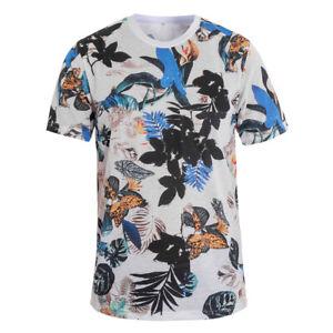 T-Shirt-Uomo-MOD-Manica-Corta-Stampa-Floreale-Fiori-Casual-GIOSAL