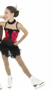 NEW COMPETITION SKATING DRESS Elite Xpression Black Red 1422 AS SMALL