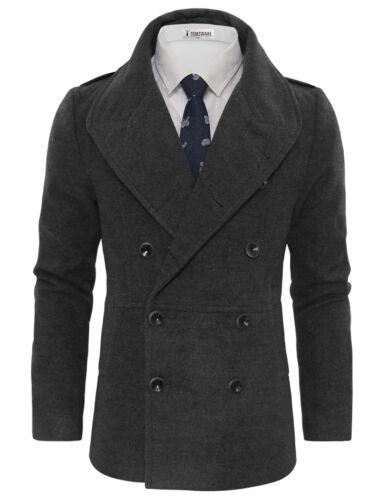 TWCC16 TAM WARE Men/'s Stylish Large Lapel Double Breasted Pea Coat