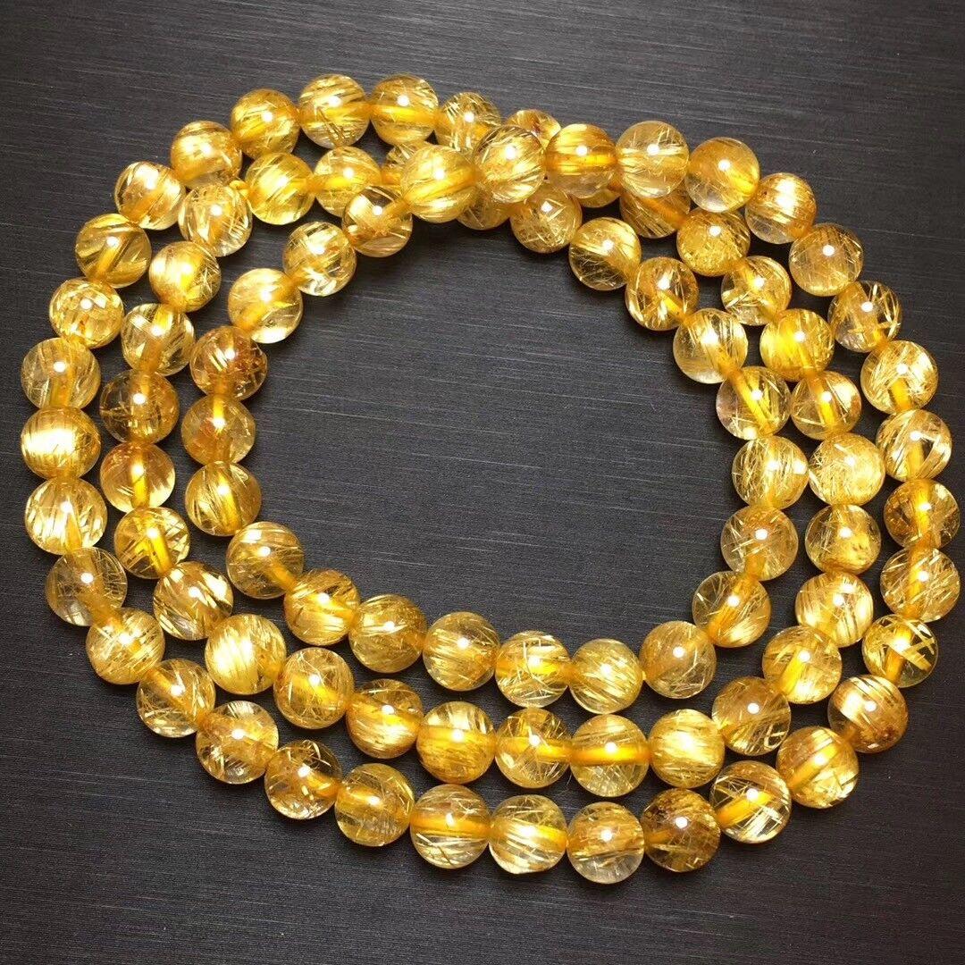 6.8mm Natural gold Rutilated Quartz Titanium Stretch Crystal Beads Bracelet