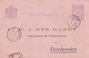 Briefkaart bedrukt 8 mei 1893 Utrecht Rotterdam A (kleinrond) naar Dordrecht