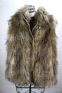 158-JOHNSTON-amp-MURPHY-Cozy-Chic-Boho-Long-Hair-Tan-Brown-Faux-Fur-Vest-XL-NWT