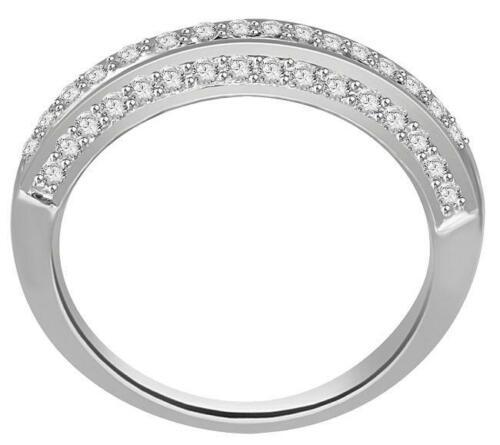 Wedding Engagement Ring Band I1 G 0.65 Ct Real Diamond 14K White Gold Pave Set