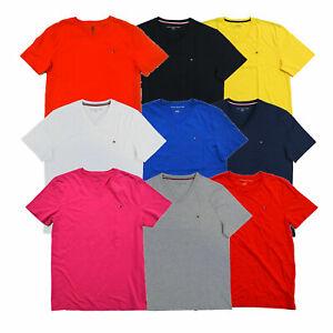 Tommy-Hilfiger-Mens-T-Shirt-Classic-Fit-V-neck-Tee-Short-Sleeves-Flag-Logo-New