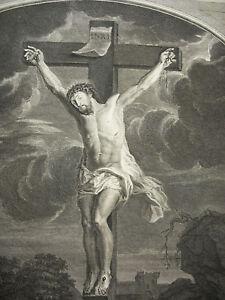 Antoine Coypel (1661-1722) Crucifixion C1700 Gravure Xviiie Le Christ Gravure Convient Aux Hommes, Femmes Et Enfants