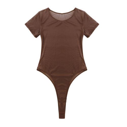 Women Mesh Sheer Stretch Bodysuit Short Sleeve Leotard Top Jumpsuit Bikini Rompe