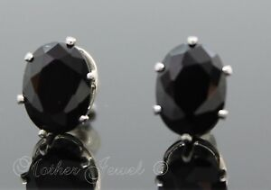 8mm-925-STERLING-SILVER-Oval-Black-Simulated-Diamond-Stud-Ladies-Mens-Earrings