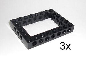 LEGO-Technic-3x-Lochbalken-6x8-schwarz-Rahmen-Frame-Lochstein-Liftarm-40345