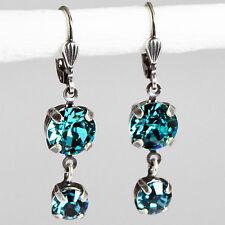 Ohrringe Ohrhänger Silber Altsilber Swarovski Kristall Rund Light Turquoise blau