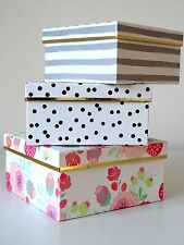 Gift Box Set Polka Dot Stripes Floral Gorgeous Set 3 Cardboard Keepsake Boxes