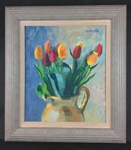 Authentique-George-Birrell-peinture-huile-sur-panneau-encadree-034-TULIPS-034-signe