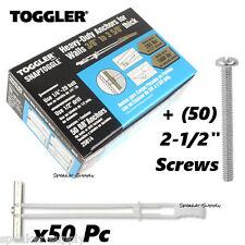 "Toggler SnapToggle BB 1/4"" Toggle Bolts Anchors 50 Pc + Screws SKY5057 + SKY5058"