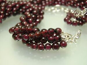 1 multi (5) strand Vintage nature Garnet 4.5-5.5 mm round beads necklace 18+2