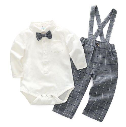 Bébé Garçon Gentleman Baptême Smoking Ange Pantalon Rose Dungarees Outfit