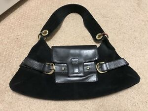 Image Is Loading Banana Republic Black Suede Amp Leather Small Handbag