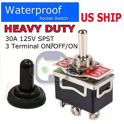 5x SPDT 125V Heavy Duty 20A ON-OFF-ON Rocker Toggle Switch Waterproof Boot US