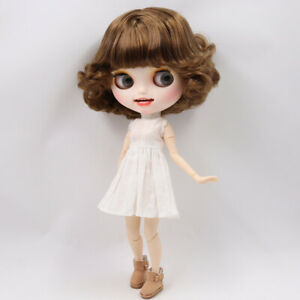 "12/"" Factory blythe 1//6 BJD Brown short hair Custom matte face Special Carved lip"