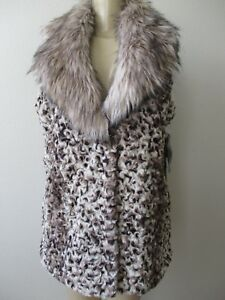 Adrienne Nwt Collar Sleeveless Fur With Faux Design L Size Vest Animal Landau PZAq7rP