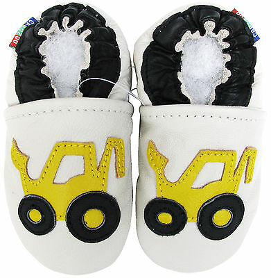 carozoo forklift cream 6-12m C1 soft sole leather baby shoes