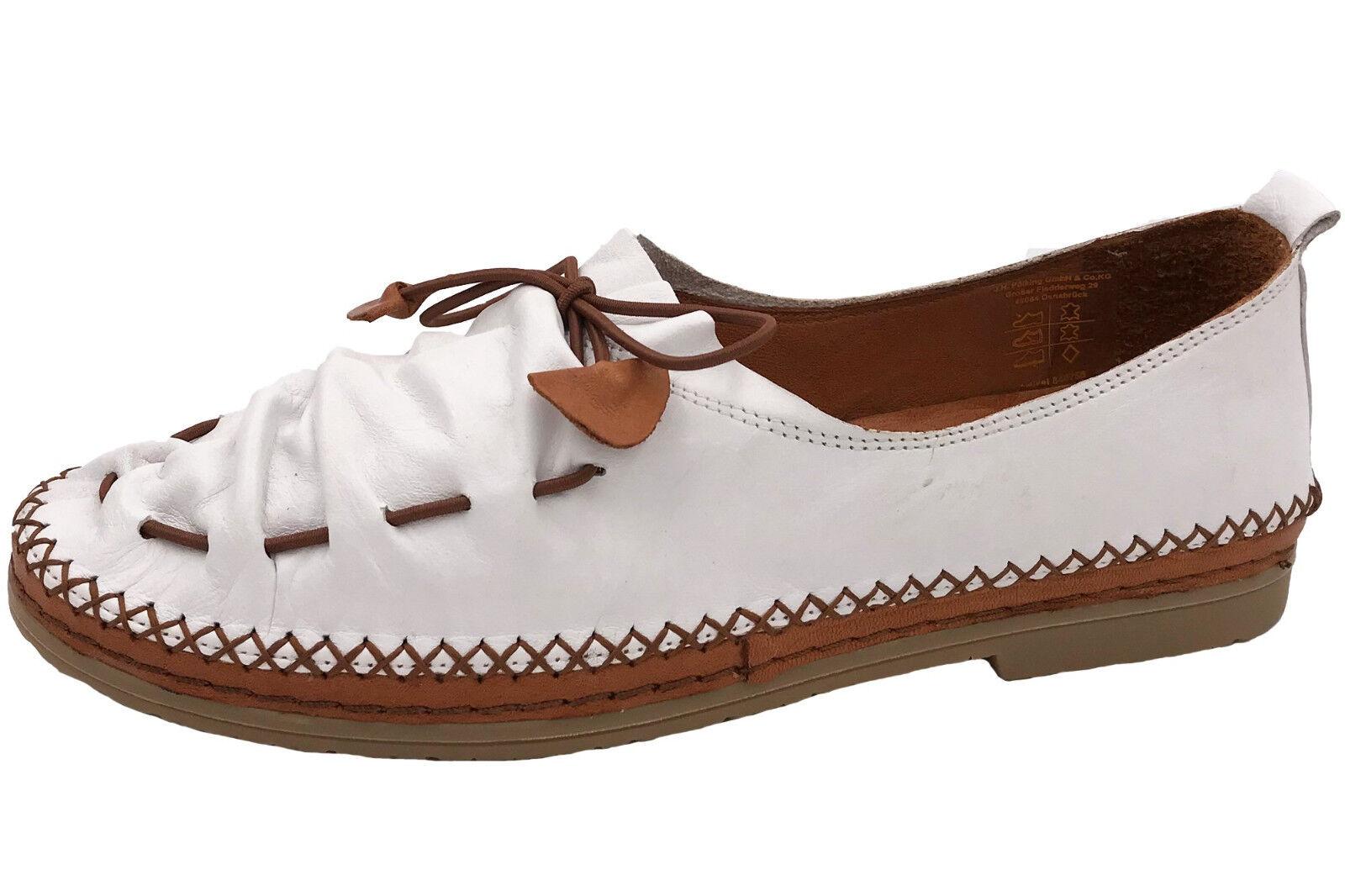 Manitu Damen Schuhe Weiß Mokassins Leder Slipper NEU 840755-3 NEU