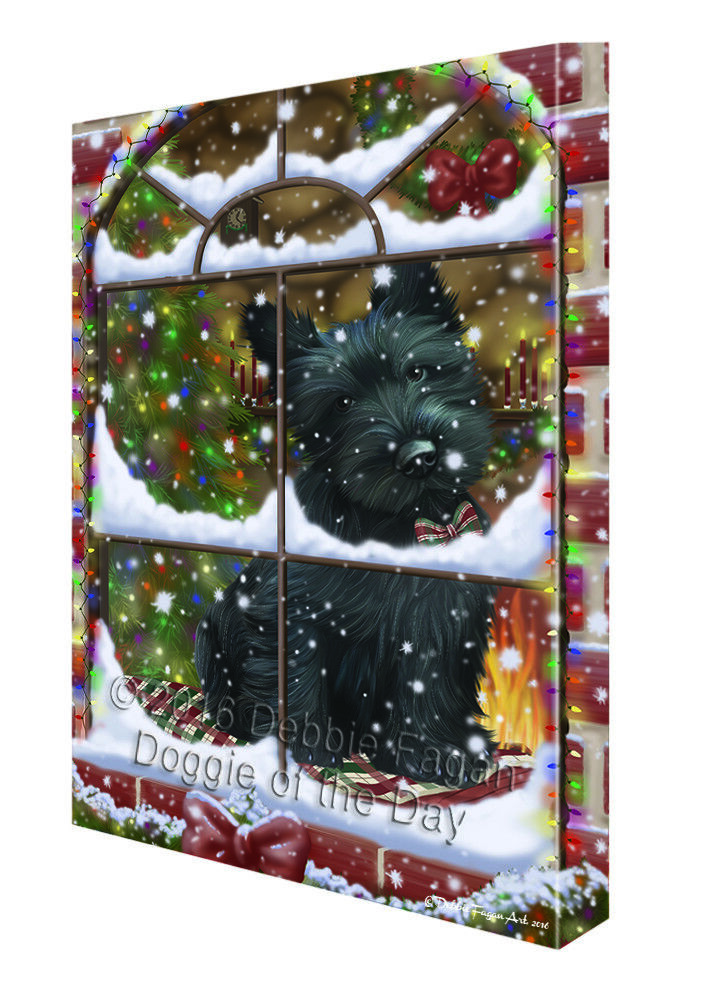 Please Come Home For Christmas Scottish Terrier Dog Canvas Wall Art