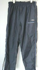 Vintage-Men-039-s-FILA-NAVY-NYLON-TRACK-PANTS-Large-L-jogger-elastic-stripe-striped