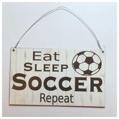 Eat Sleep Soccer Sign Wall Plaque Manchester Liverpool Madrid Ball Sport
