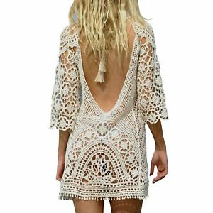 Women-039-s-Bathing-Suit-Cover-Up-Crochet-Lace-Bikini-Swimsuit-Dress-White-M