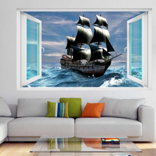 Bateau pirate 3D Wall Art Autocollant Mural Decal Poster Enfants Chambre À Coucher Décoration Maison GT2