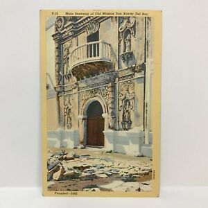 Postcard-VTG-1936-Catholic-Church-Main-Doorway-at-Old-Mission-San-Xavier-Del-Bac