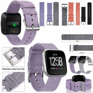 Hot-Colorful-Woven-Fabric-Canvas-Nylon-Watch-Strap-Wrist-Bands-For-Fitbit-Versa