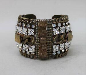 Ladies-Diamante-Crystal-Embellished-Golden-Wide-Chunky-Bangle-Costume-Bracelet