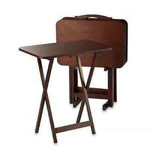 Tray Table Set 5 Piece Folding Tables Wood Game Snack
