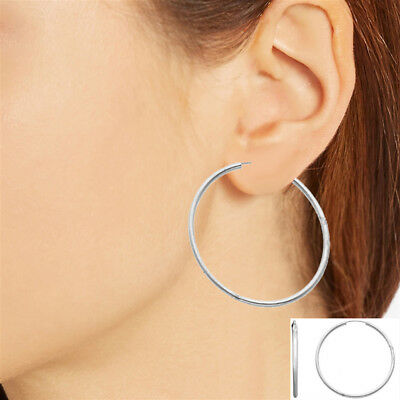 Sterling Diamond-Cut Hoop Earrings 1.5 mm Thick Endless 3 Diameters to Pick From