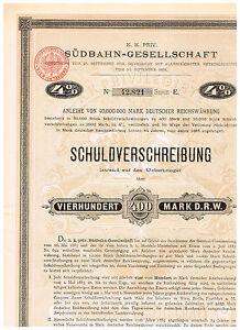 K-K-Priv-Suedbahn-Gesellschaft-Wien-1885-400-Mark-D-R-W