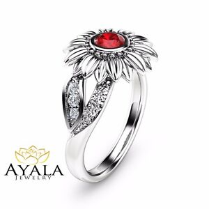 Unique Ruby Engagement Ring 14k White Gold Sunflower Ring Natural