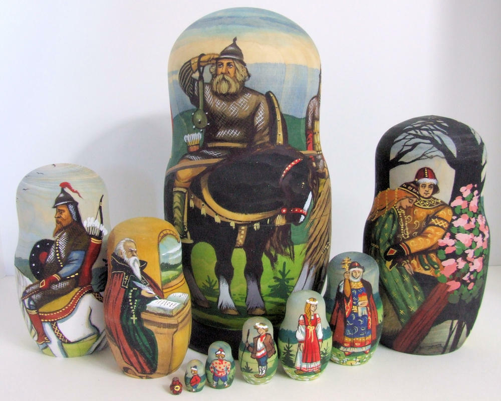 10pcs Hand Painted Russian Nesting Doll Exclusive