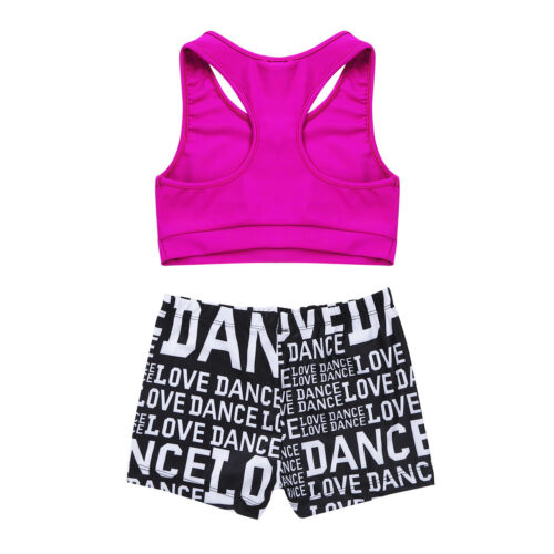 Girl Kid Dance Outfit Ballet Gymnastics Leotard Crop Top+Bottoms Jazz Dancewear