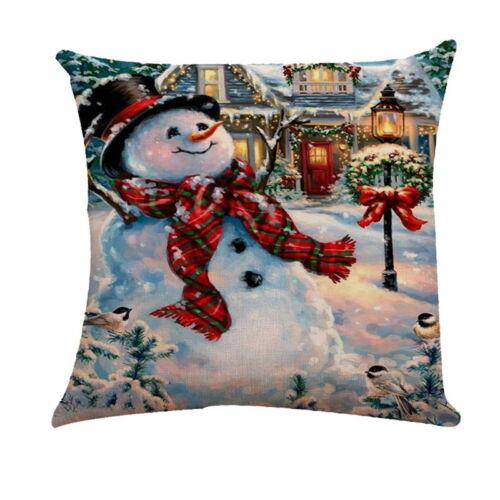 "18/"" Christmas Series Cushion Cover Xmas Snowman Printed Flax Square Pillow Case"