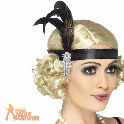 Smiffy/'s Satin Charleston Headband with Feather and Jewel Silver//Black