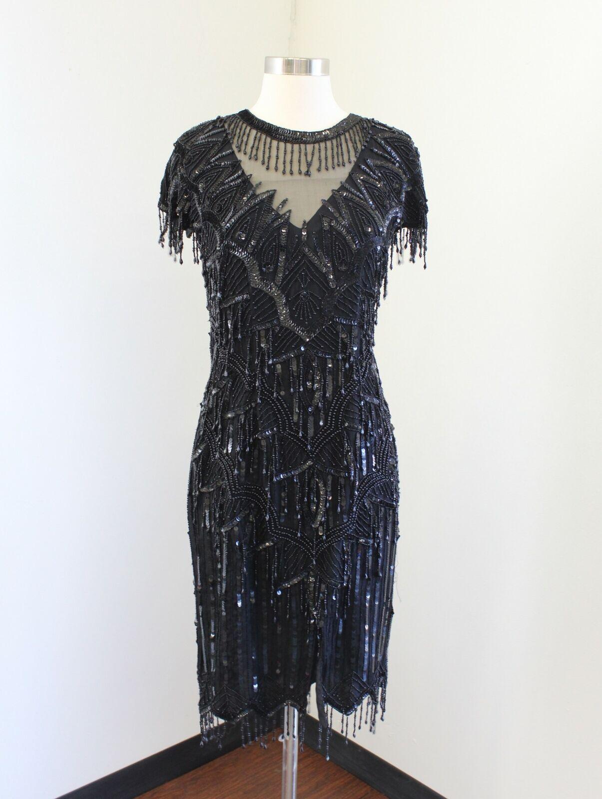 Vtg Laurence Kazar schwarz Silk Beaded Sequin Fringe Mesh Flapper Dress Party S
