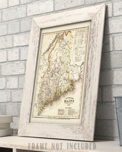 11x14 Unframed Art Print Great Vintage Home Decor 1845 Map of Maine Art Print