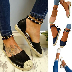 WOMENS-FLATS-HEEL-STUD-SUMMER-STRAPPY-ESPADRILLES-ANKLE-BEACH-SANDALS-SHOES-SIZE