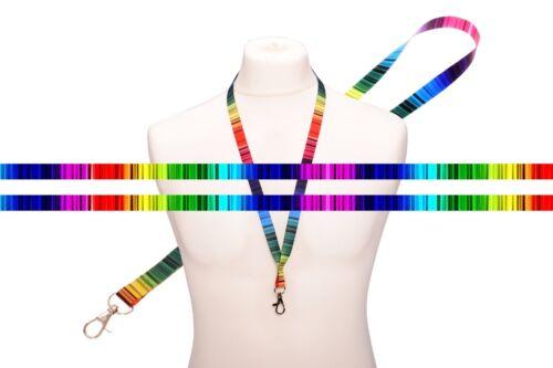 Multicolore Rainbow LINEE DI RASO CORDINO tracolla multifunzione Clip Metallo Supporto