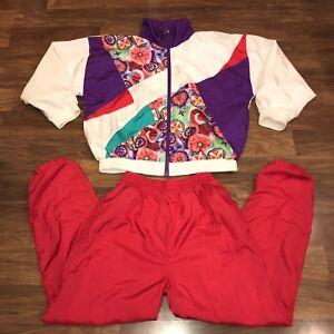 a55006a0c7d6c0 Vtg 80s 90s MEDIUM Casual WINDBREAKER Nylon TRACK SUIT Jacket Coat ...