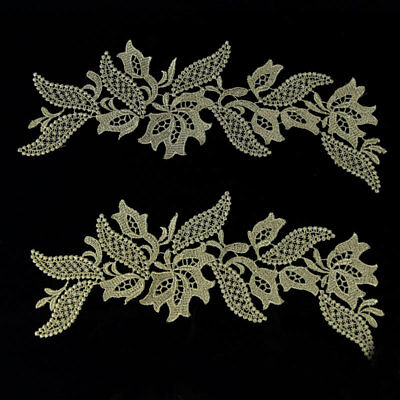 DIY 1 Pair Gold Polyester Lace Trim Embroidery Sewing on Costume Appliques Craft