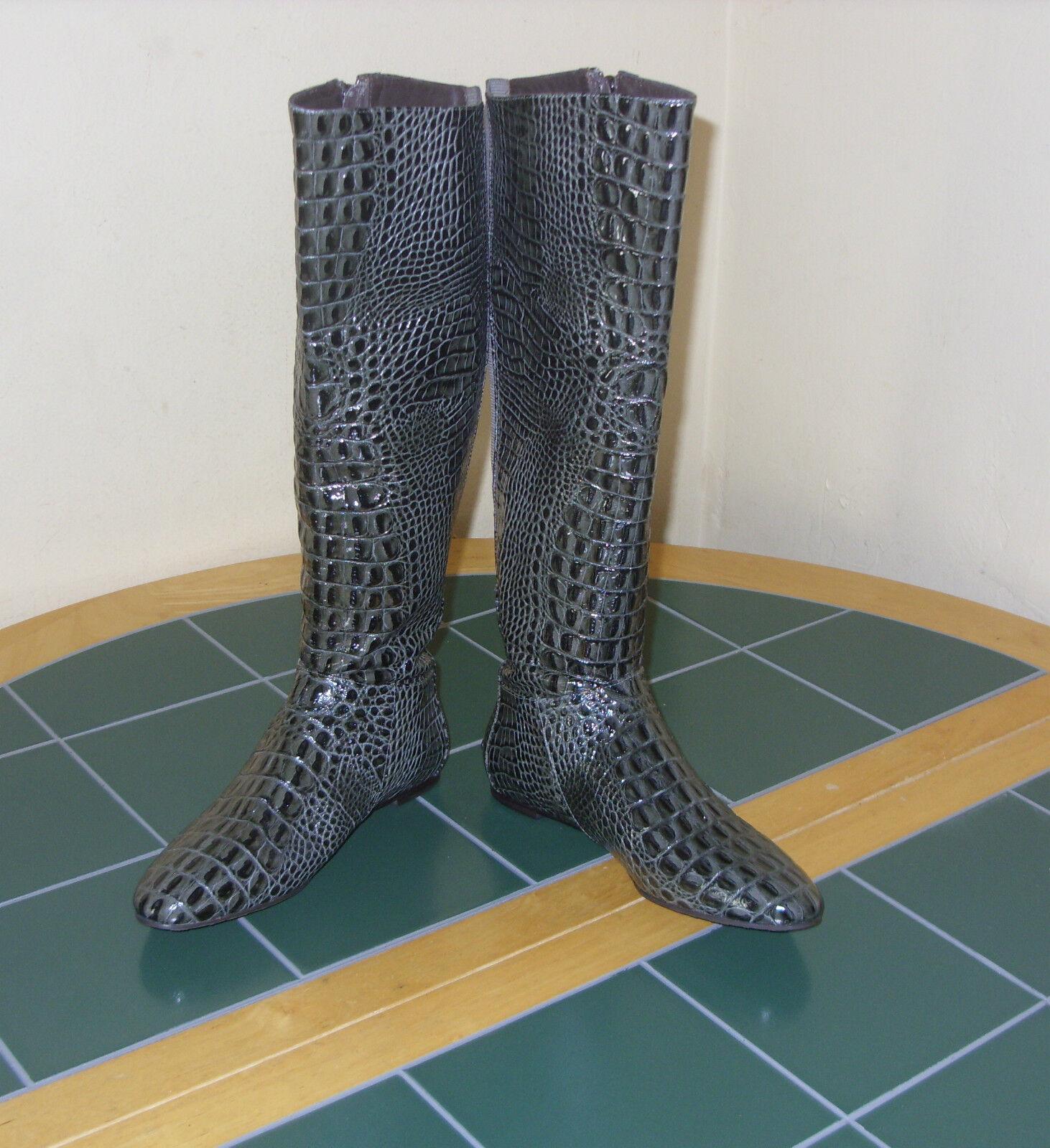 Women's BCBG Max Azria  Animal Croco Leather Boots US 6B 36 Brazil