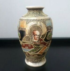 Antique-Vintage-Small-Japanese-Late-Meiji-Period-Satsuma-Vase-Gold-Stamped